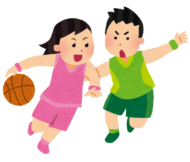 バスケットボールのイラスト「女の子VS男の子」