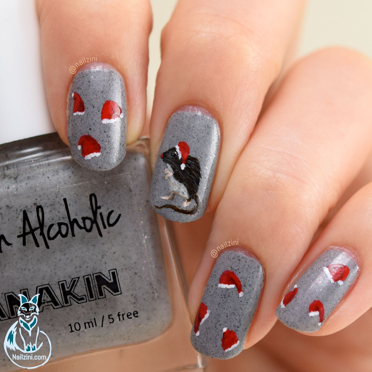 Rudolf The Red Nosed Rat Nail Art Nailzini
