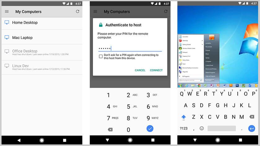Aplicación de escritorio remoto de chrome para android