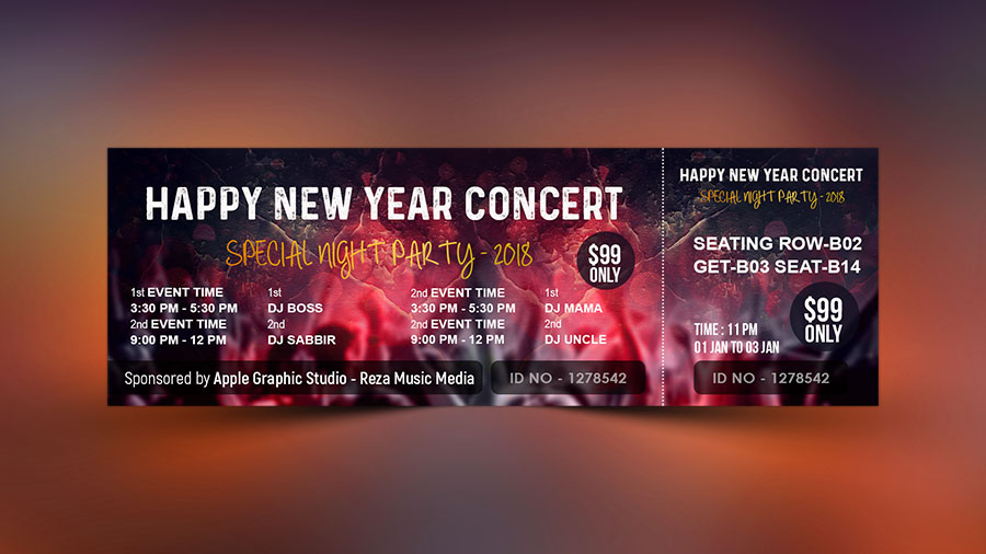 How To Design Event Ticket Template In Photoshop  Apple Graphic Studio