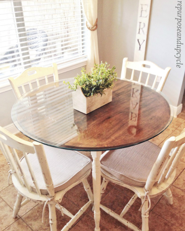 1950's DIY Chalk Painted Dining Table & Chairs
