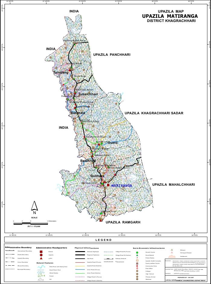 Matiranga Upazila Map Khagrachari District Bangladesh