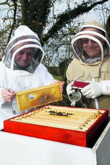 Mr Steve Beeching, right, and Mr Roy Parker, of Grantham and District Beekeepers' Association, check a hive