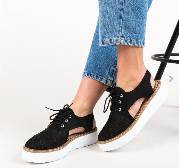 Pantofi casual de femei pentru vara negri cu decupaje