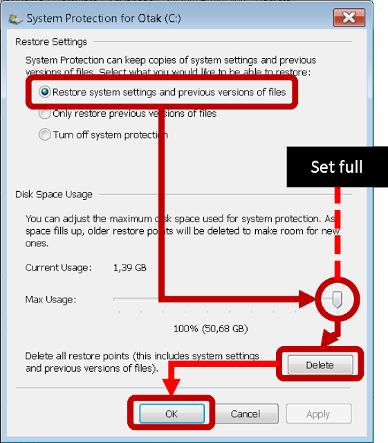 step tutorial clear folder C windows 7 system protection