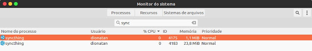 Syncthing no monitor do sistema