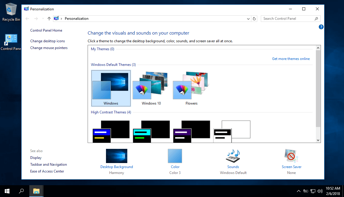 Khởi chạy Personalization cũ trong Windows 10