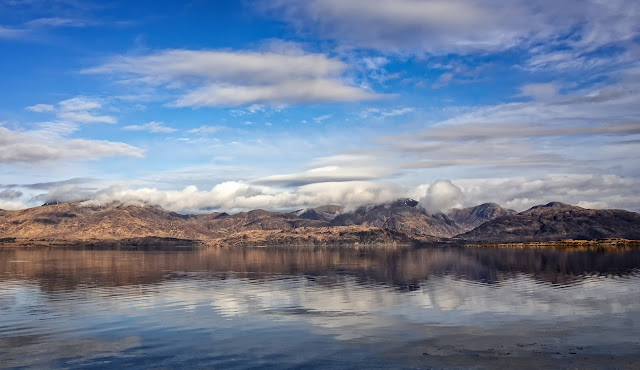 Photo of the Ardgour mountains across Loch Linnhe just before we left