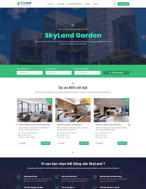 Template blogspot bất động sản Sky Land