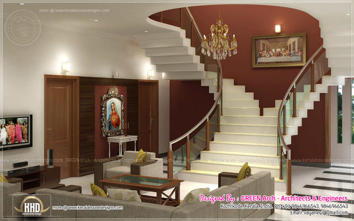 Beautiful home interior designs by green arch kerala home kerala plans Beautiful houses interior