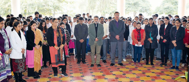 Sudha Rastogi College students kept silent for martyrs in Pulwama terror attack