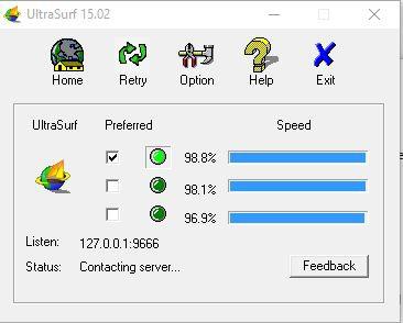 Giao diện phần mềm Ultrasurf