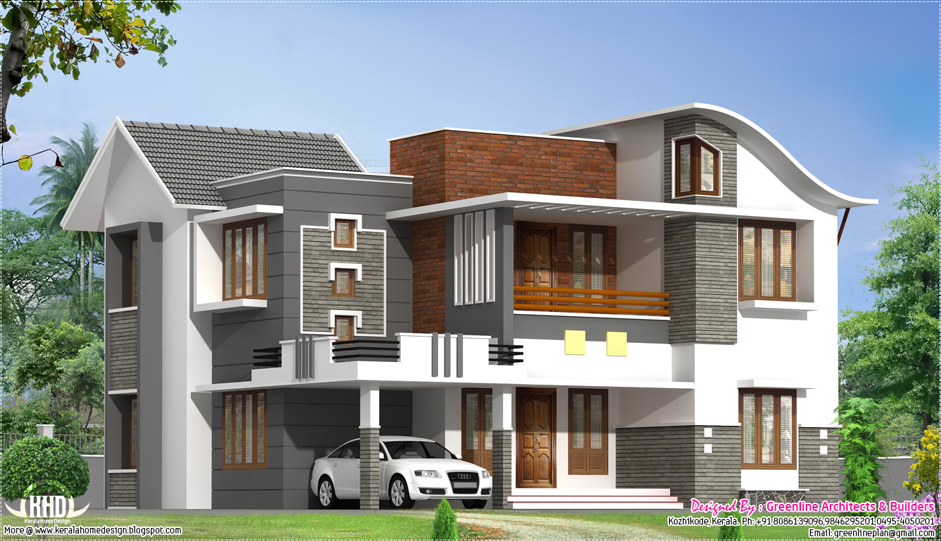 2200 beautiful modern villa kerala home design for Kerala style villa plans
