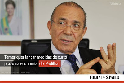 Temer quer lançar medidas de curto prazo na economia, diz Padilha.
