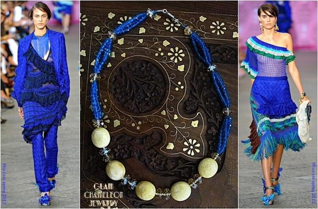 Glam Chameleon Jewelry blue beads and yellow jasper necklace
