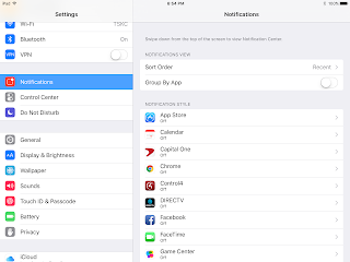 image of ipad settings menu