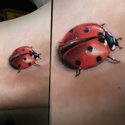 3D real red ladybug tattoo