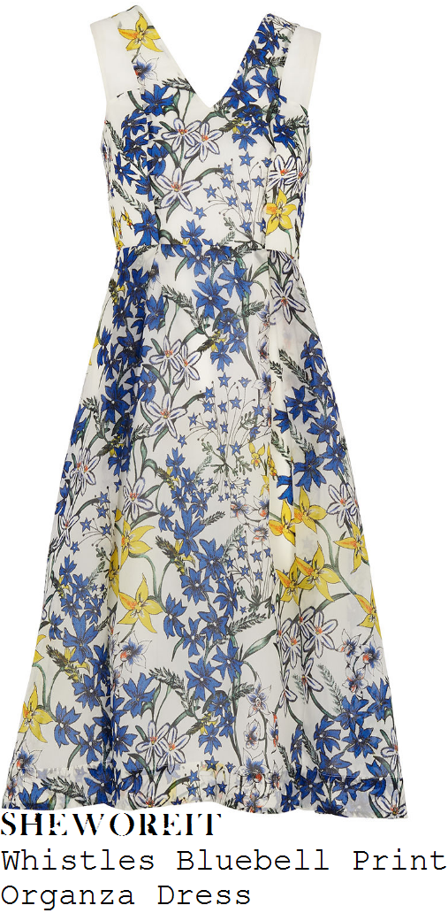 holly-willoughby-whistles-white-blue-yellow-and-green-bluebell-floral-print-sleeveless-sheer-organza-insert-detail-silk-dress