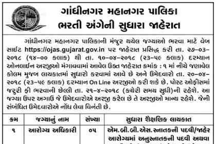 Gandhinagar Municipal Corporation (GMC) Corrigendum Notification for Health Officer Posts 2018