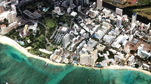 waikiki beach aerial