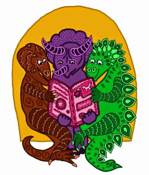 Illusztráció gyerekvershez, sárga volán buszon Iharkútig utazó dinoszauruszok, a triceratopsz női magazint olvas, a sztegoszaurusz és a raptor lapoz.