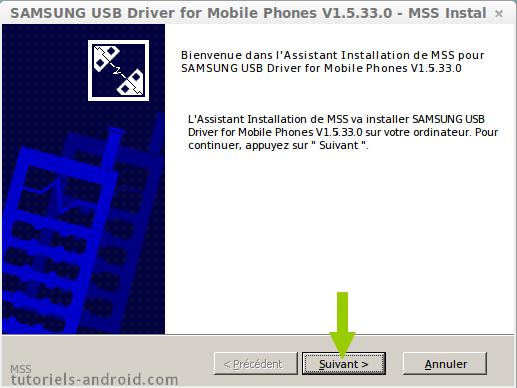Installation des drivers USB pour SAMSUNG