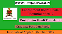 Cantonment Board Deolali Recruitment 2017– Junior Hindi Translator