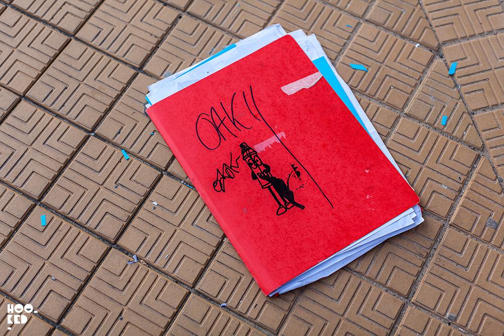 French Street Artists OakOak at work on a stencil piece in Ostend, Belgium. Photo ©Hookedblog / Mark Rigney