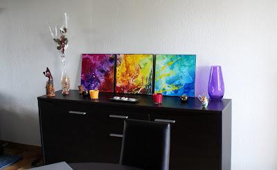 Tableau en 3 parties coloré