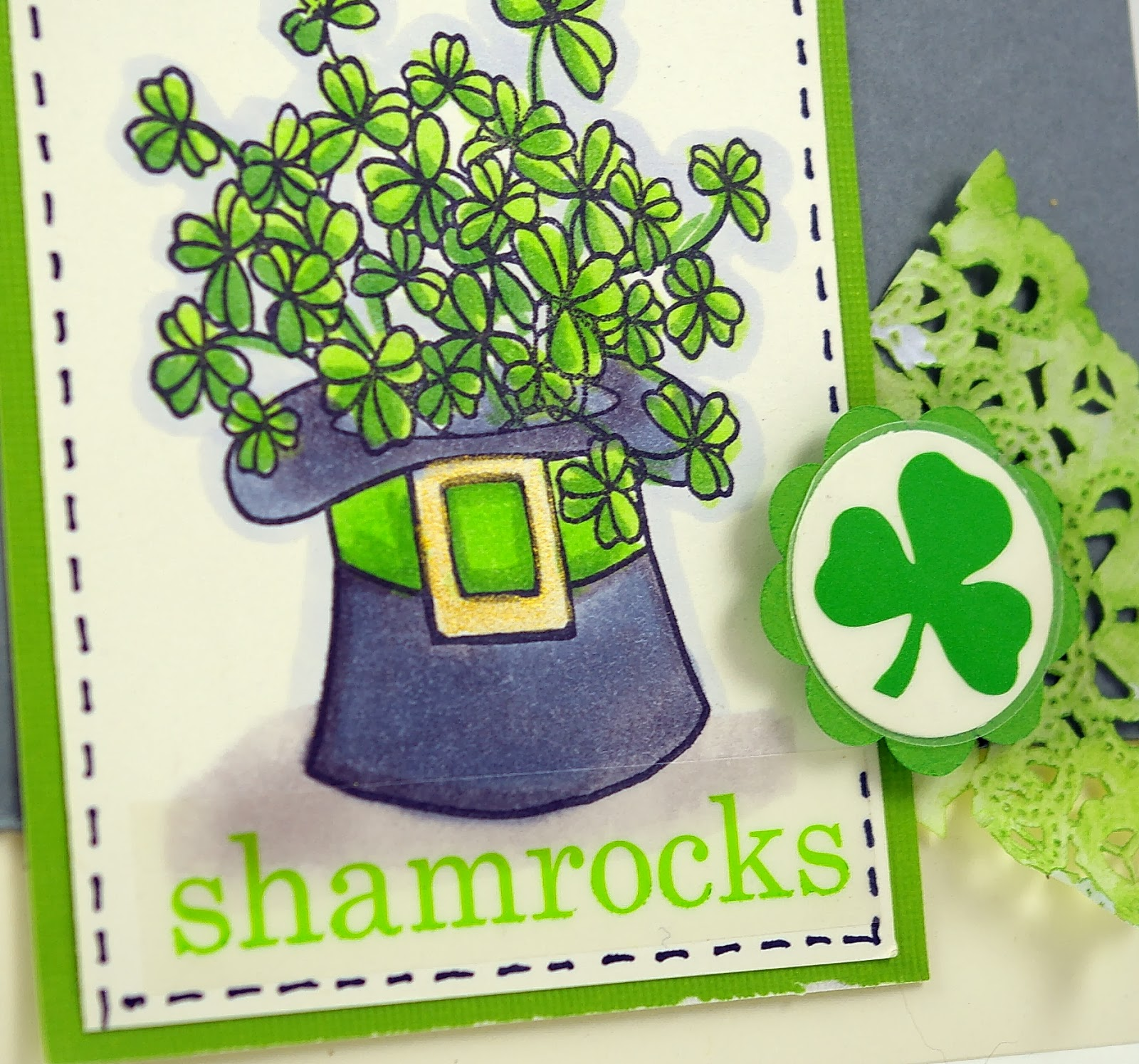 SRM Stickers Blog - St. Patrick's Day Card by Michelle - #st pats #card #stamping #copics #ranger #diistress #doilies #stickers
