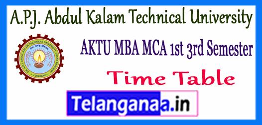 AKTU A.P.J. Abdul Kalam Technical University MBA MCA 1st 3rd Semester Time Table 2017
