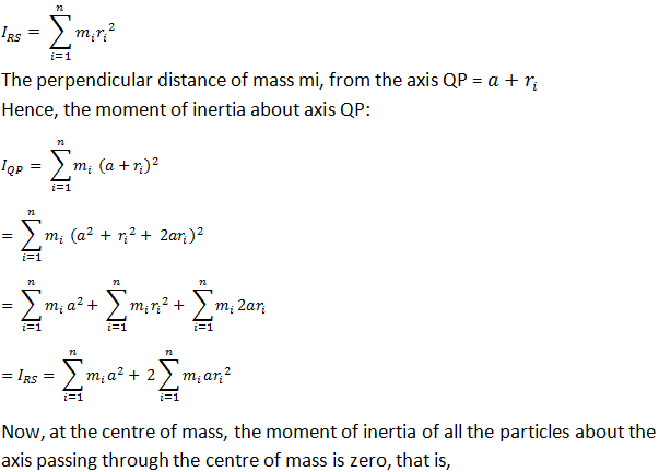 relationship between center of mass and moment inertia cylinder