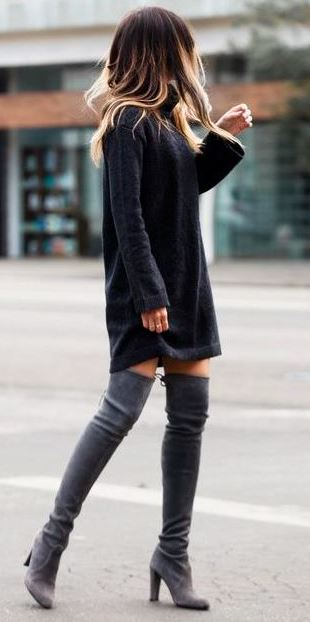fall outfit / sweater dress and over the knee boots