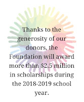 Poster with text: Thanks to the generosity of our donors, the Foundation will award more than $2.5 million in scholarships during the 2018-2019 school year.