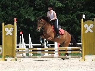 Cheval et sa cavalière en saut sur une épreuve interne en Club 3