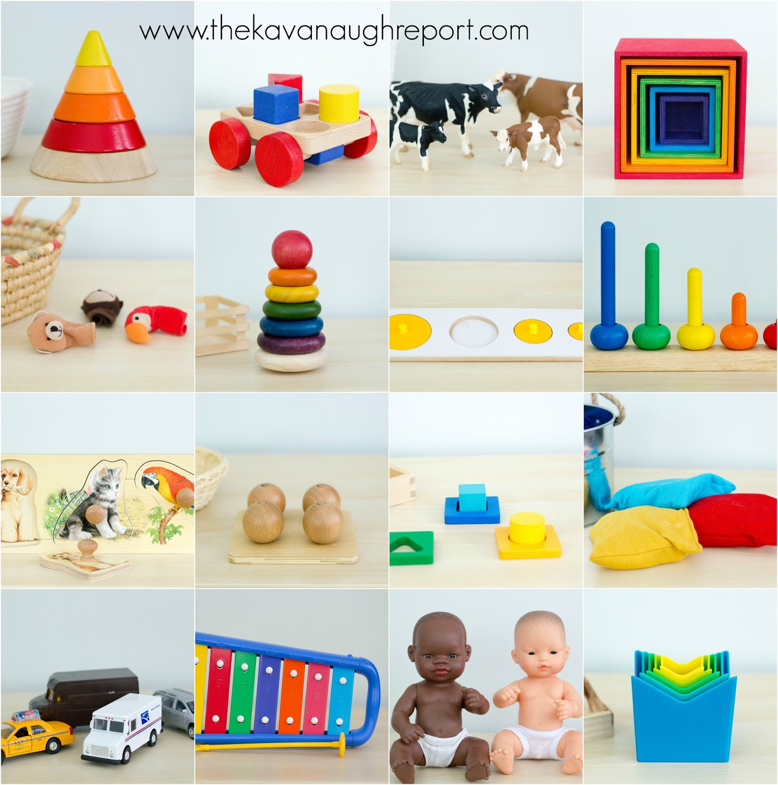 Montessori friendly toys for toddlers from 16 to 19 months.