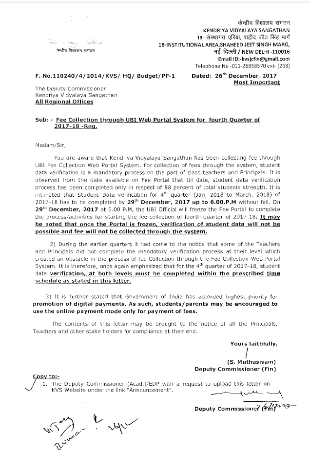 use-online-payment-mode-only-kvs-circular-paramnews