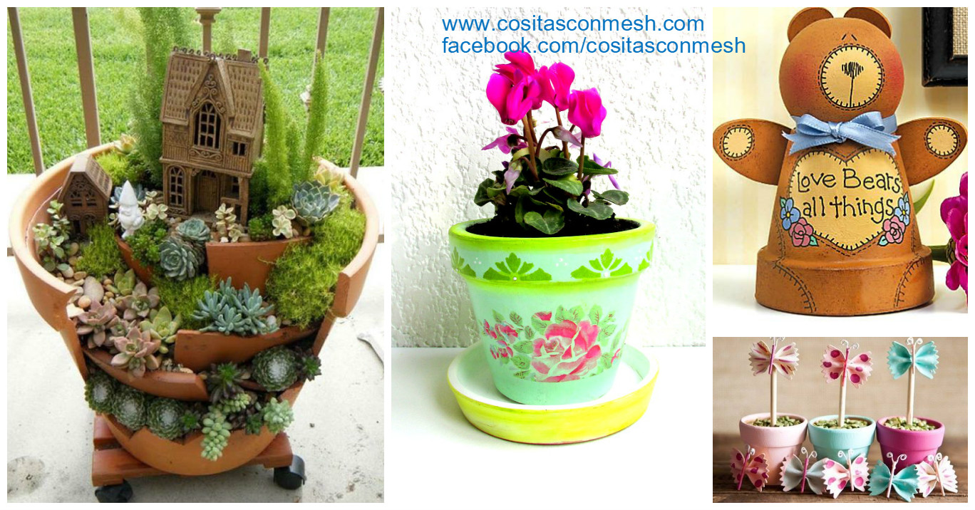 4 ideas de manualidades con macetas de barro cositasconmesh for Macetas decoradas para jardin