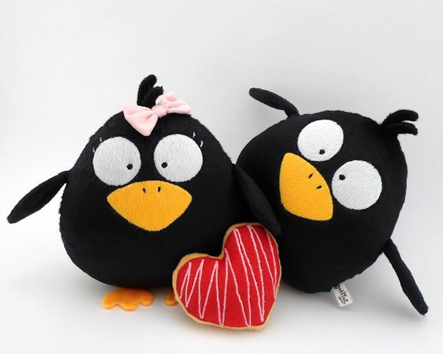 Black Raven Couple stuff Plushies animals plush cute toy gift birthday halloween day christmas nursery decor heart child baby girl guyuminos