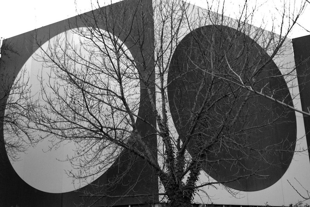 Círculos opostos em preto e branco, em paredes ladeadas de cor inversa, por trás de uma árvore seca: ilustra a seção a respeito dos textos das linhas de ''K'uei / Oposição'', um dos 64 hexagramas do I Ching, o Livro das Mutações