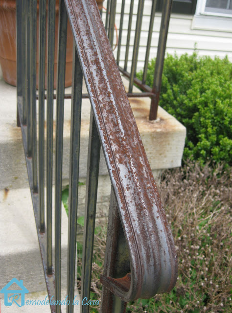 metal railing full of rust