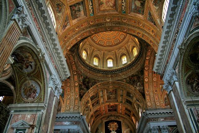 chiesa, Gesù Nuovo, monumento, volta chiesa, affreschi, decorazioni