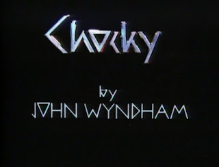 Title screen of the Chocky TV series with the name John Wyndham