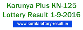 Kerala Lottery Result 1-9-2016, Karunya Plus KN 125, Today's Kerala Karunya Plus Lottery result 01/09/2016, Karunya Plus Lottery KN125 result, Kerala Karunya Plus KN-125 lottery result today 1/9/2016