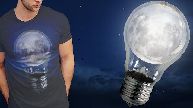 تصميم قميص مذهل للقمر داخل المصباح Moon in Bulp