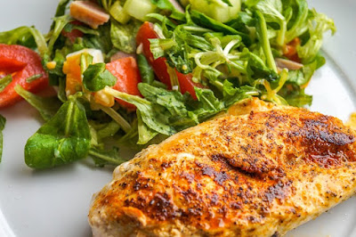 Roasted Chicken Breast with a 2-Cup Lettuce Salad