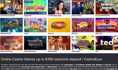 Juegos de casino en línea hasta 150 € de depósito de bienvenida