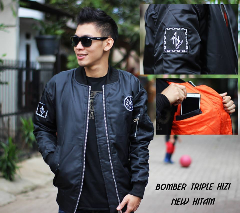 Fashion Online Shop Jaket Bomber Bojiel Triple Hizi New Hitam