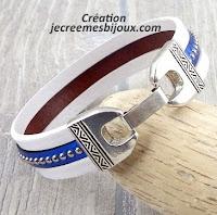 Kit tutoriel bracelet cuir blanc bleu billes ethnique