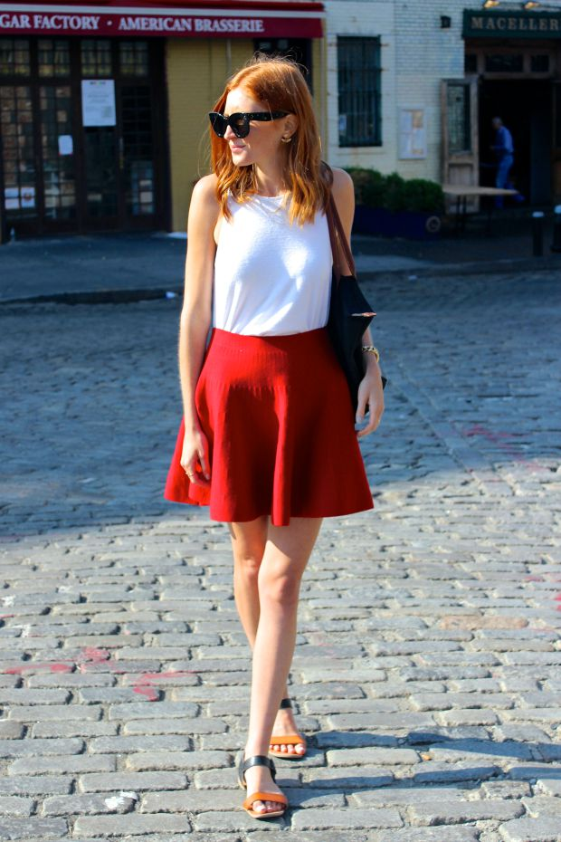 Red skirt, celine sunglasses, NYC style